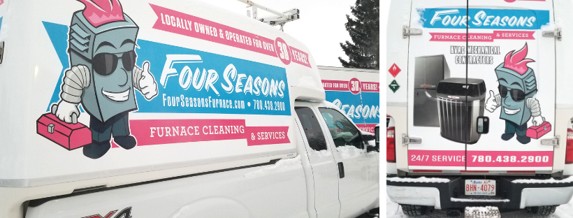 Four Seasons service trucks that run 24/7 for emergency furnace repair 365 days a year.